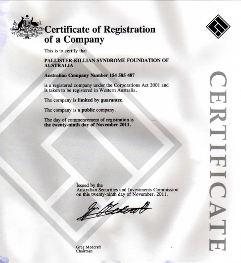 Certificate of Registration of a Company