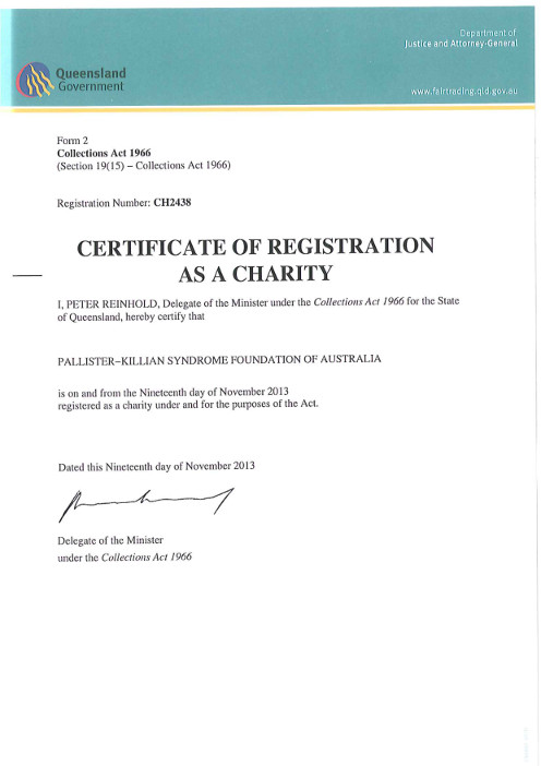 Certificate of Registration Charity Queensland