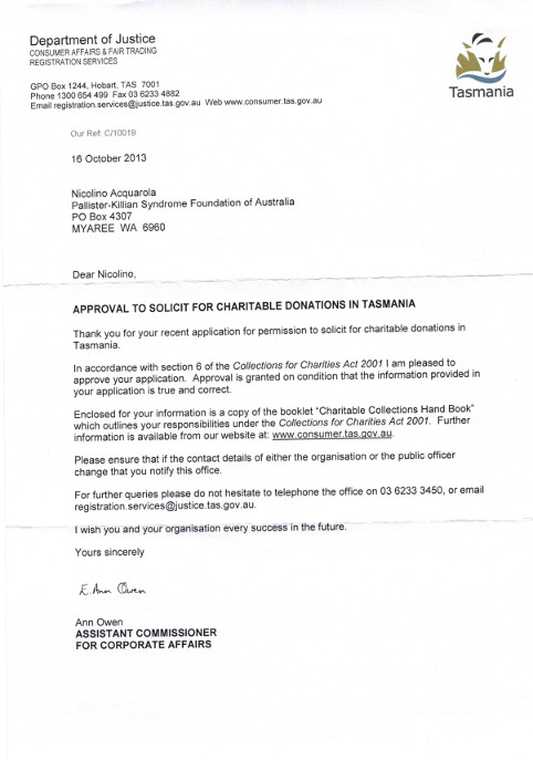 Approval to Solicit for Charitable Donations TAS